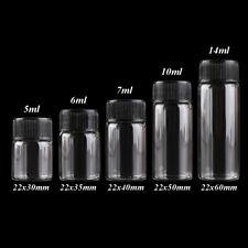 Diameter 22mm Glass Bottles Jar with Black Plastic Lids 5ml-14ml 5 Sizes U-Pick