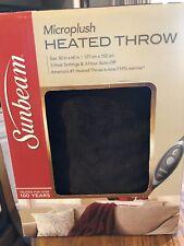 Sunbeam Electric Heated Throw Blanket Microplush Walnut Brown Auto Turnoff Wash