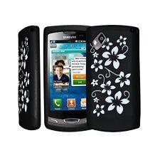 housse étui coque en silicone noir motif fleurs pour Samsung Wave 2 s8530