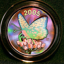 2005 CANADA 50 cent Spangled Fritillary Butterfly Sterling silver - Hologram