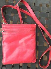 m0851 Small Flat Aniline Leather Convertible Crossbody / Belt Bag Hot Pink $220