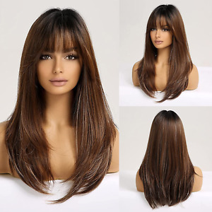 Brown Long HAIRCUBE wigs for Women, Synthetic Layered Hair Mixed Brown Wig with