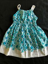 Gymboree Girl AQUA SUMMER 6 Dress Sundress Mosaic Tile Tassel Linen Blend Blue