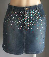 NWOT Ladies LIVING DOLL Sequin Embellished Denim Mini Skirt Size 12