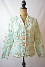 Coldwater Creek - Aqua COTTON Floral embroidered BUTTON front jacket, size 10
