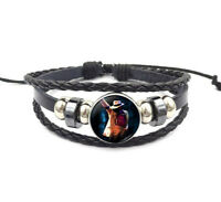 Michael Jackson Glass Cabochon Black Leather Bracelet Choice