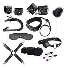 10Pcs Under Bed Bondage Set Collar Whip Cuffs Rope Restraint System Kit Toy Hot
