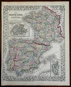 France Spain Portugal Switzerland Balearic Islands Corsica 1872 Mitchell map