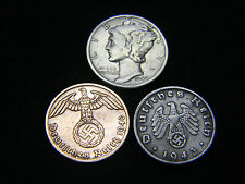 Nazi Coin 3rd Reich 1937-1945 Mercury Dime VF 90% Silver US German Lot