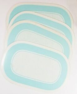 """Set of 4 Blue Speckle Oval Placemats 18"""" Sponge Paint Look and Blue Band"""