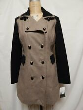 Kensie Double Breasted Colorblock Coat M Taupe/Black  New with Tags