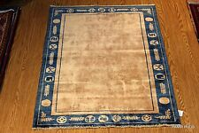 ORIENTAL 3x5 ft. CHINESE RUG PEKING BLUE, BEIGE NAVY GRAY GOLD ART DECO