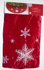 """New with Tags Jaclyn Smith 48"""" Christmas Tidings Red Velvet Snowflake Tree Skirt"""