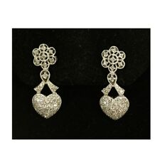 Vintage style diamond earrings with heart flower clip in white gold