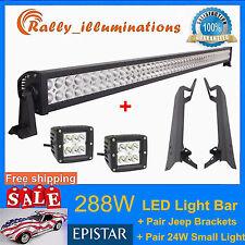 "50"" 288W+3"" 24W LED Light Bar CREE+Mounting Bracket Jeep Wrangler TJ 97~06 RALLY"