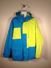Sessions Supreme Blue & Neon Green Shell System Snowboard Riding Jacket Mn Sz XL