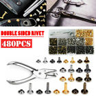 480PCS DIY Leather Craft Rivet Double Cap Tubular Metal Stud Repair Tool Set Kit
