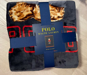 "Ralph Lauren Red Sweatshirt Throw /Blanket Polo Bear Navy 50"" x70"""