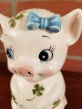 Vintage kitsch piggy bank with long lashes shamrocks 1951