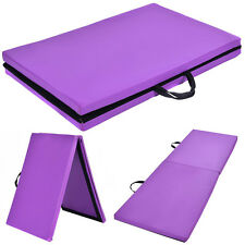 "6'x24""X1.5'' Gymnastics Mat Thick Two Folding Panel Gym Fitness Exercise Purple"