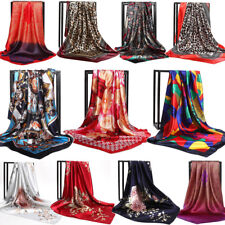 Womens Print Satin-Silk Square Scarf Wrap Lady Shawl Beach Scarves Stole 90*90cm