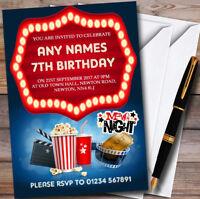 Blue Film Movie Cinema Night Personalised Childrens Birthday Party Invitations