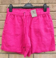 TU 55% LINEN PINK FUCHSIA BELTED HOLIDAY CULOTTE BAGGY SHORTS HOT PANTS 10 S