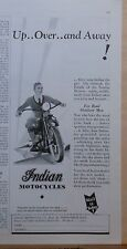 1931 magazine ad for Indian Motorcycles - Up Over and Away, For Real Outdoor Men