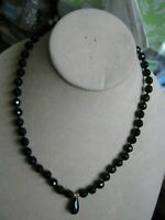 """14K Yellow Gold VA Clasp 8mm Faceted ONYX Beads 18"""" Necklace w/ Teardrop Pendant"""