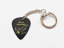BRUCE DICKINSON IRON MAIDEN Signature stamp guitar pick keychain keyring