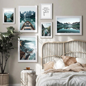 Nature Landscape Wall Art Poster Forest Mountain Canvas Painting Lake Boat Print