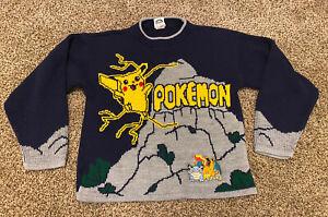 VTG Nintendo Official Pokémon Knit Sweater Boys Kids Youth Size 10/12 Pikachu