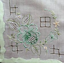 Vintage 1970s Hand Embroidered White Linen Women's Handkerchief