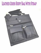 Leather Cross Body Traveling Messenger Strap Multiple Compartments Bag
