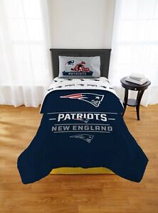 New England Patriots NFL Twin Comforter, Sheets & Pillow Sham (5 Piece Set)