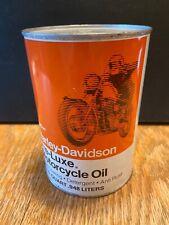 1970's Vintage Harley Davidson Pre-Luxe Full Metal Quart Oil Can Nice!