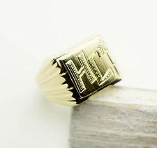 Ring Men's Seal Ring HJ Geniune Gold Yellow Gold 585 14K Size 67