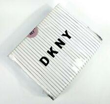 DKNY Queen Sheet Set Stripe Stripes Gray White Cotton Blend Set Of 4 Pieces NWT