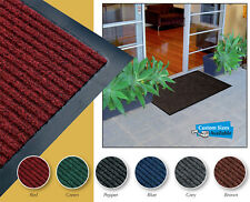 ENTRANCE MAT RUBBER BACKED RUG, RIBBED, DURABLE MAT, 5 Sizes & 5 Colours