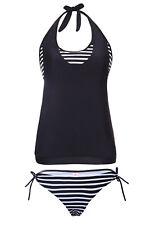Costume Da Bagno Top 2 Pezzi Righe Slip Canotta Lacci Top Bra Tankini Swimwear S