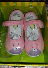 Monkey Toes Luv Bugs size 7 girls canvas shoes boutique Mary Jane pink purple