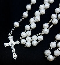 Ivory White Rose Bead Catholic Blessed Rosary 8mm Beads