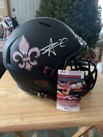 Saints Alvin Kamara Full Size Signed Autographed Rep Helmet Black Matte JSA COA