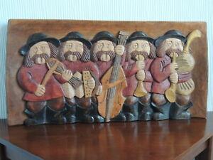 Wood Carved Folk Art Picture of 5 Rural Folk Musicians