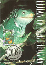 Fijian Crested Iguana Australian Zoos Maximum Card Postmarked First Day of Issue