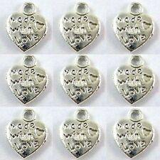 "25 x Tibetan Silver ""made with love"" Heart Charm A0109"