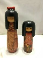 lot of 2 Kokeshi Amazing Kawaii cute Japanese Wooden dolls 18-23cm