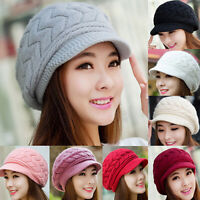 HN- Women's Solid Color Warm Knitted Baggy Beret Beanie Hat Slouch Ski Cap Serap