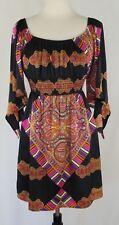 Voom Joy Han Silk Dress Size Medium Kimono Sleeves Black Pink Paisley Stripes