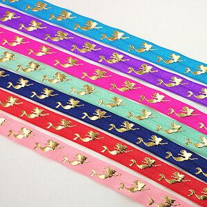 10Yards Gold Foil Mermaids Elastic Ribbon, Birthday Party Hair Ties & Wristbands